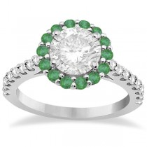 Round Halo Diamond and Emerald Engagement Ring 14K White Gold (1.16ct)