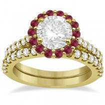 Halo Diamond & Ruby Bridal Engagement Ring Set 18K Yellow Gold (1.54ct)