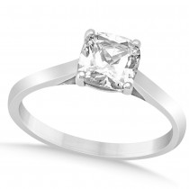 Diamond Solitaire Cushion Cut Engagement Ring 14k White Gold (1.00ct)