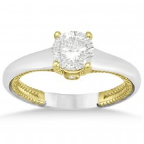 Diamond Antique Solitaire Engagement Ring 14k Two Tone Gold (0.04ct)