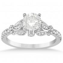 Diamond Floral Engagement Ring Setting 14k White Gold (0.28ct)