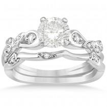 Diamond Vine Leaf Engagement Ring Bridal Set 14k White Gold (0.10ct)
