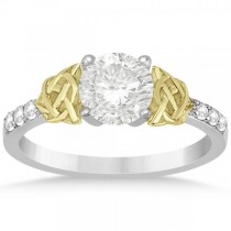 Diamond Celtic Knot Engagement Ring 14k Two Tone Gold (0.12ct)