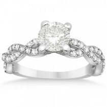 Diamond Infinity Twisted Engagement Ring Setting 18k White Gold 0.58ct