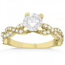 Diamond Infinity Twisted Engagement Ring Setting 18k Yellow Gold 0.58ct