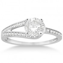 Pave Love-Knot Pave Diamond Engagement Ring 18k White Gold (0.20ct)