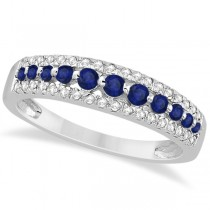 Three-Row Blue Sapphire & Diamond Wedding Band 14k White Gold 0.63ct