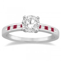 Princess Cut Diamond & Ruby Engagement Ring Platinum (0.20ct)
