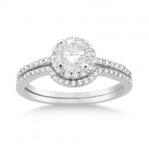 Petite Halo Diamond Engagement Ring & Band 14k White Gold (0.40ct)