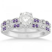 Marquise and Dot Amethyst & Diamond Bridal Set Platinum 0.49ct