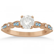 Marquise & Dot Blue Topaz Diamond Engagement Ring 14k Rose Gold 0.24