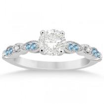 Marquise & Dot Blue Topaz Diamond Engagement Ring 14k White Gold 0.24