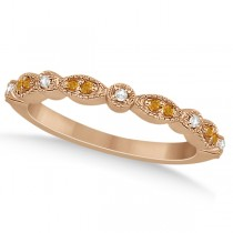 Marquise and Dot Citrine and Diamond Wedding Band 18k Rose Gold 0.25ct