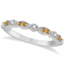 Marquise and Dot Citrine and Diamond Wedding Band 18k White Gold 0.25ct