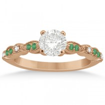 Emerald and Diamond Marquise Engagement Ring 18k Rose Gold (0.20ct)