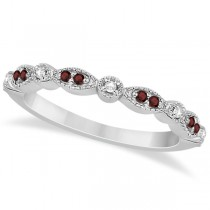 Marquise and Dot Garnet & Diamond Wedding Band 14k White Gold 0.25ct