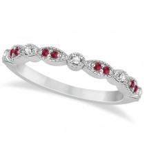 Ruby & Diamond Marquise Wedding Band 14k White Gold (0.21ct)