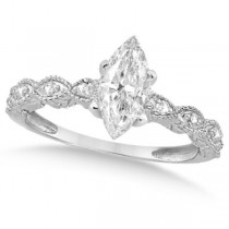 Marquise Antique Diamond Engagement Ring in 14k White Gold (1.50ct)