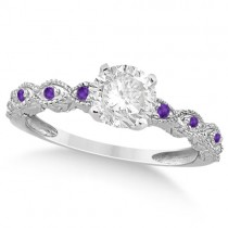 Vintage Diamond and Amethyst Engagement Ring 18k White Gold 0.75ct