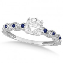 Vintage Diamond and Blue Sapphire Engagement Ring 18k White Gold 0.75ct