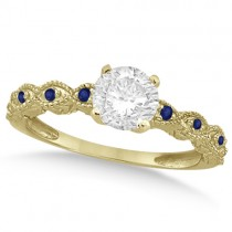 Vintage Diamond and Blue Sapphire Engagement Ring 18k Yellow Gold 0.75ct