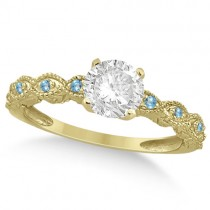 Vintage Diamond and Blue Topaz Engagement Ring 18k Yellow Gold 0.75ct