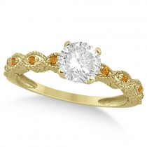 Vintage Diamond and Citrine Engagement Ring 18k Yellow Gold 0.75ct