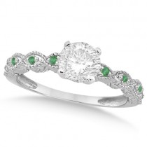 Vintage Diamond and Emerald Engagement Ring 18k White Gold 0.75ct