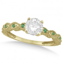 Vintage Diamond and Emerald Engagement Ring 18k Yellow Gold 0.75ct