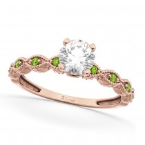 Vintage Diamond and Peridot Engagement Ring 18k Rose Gold 0.75ct