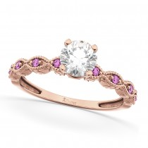 Vintage Diamond and Pink Sapphire Engagement Ring 18k Rose Gold 0.75ct