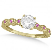 Vintage Diamond and Pink Sapphire Engagement Ring 18k Yellow Gold 0.75ct