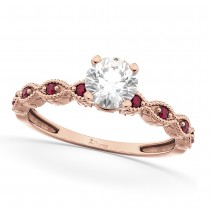 Vintage Diamond and Ruby Engagement Ring 18k Rose Gold 0.75ct