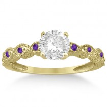 Vintage Marquise Amethyst Engagement Ring 18k Yellow Gold (0.18ct)