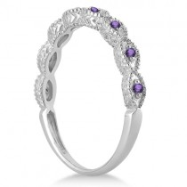 Antique Marquise Shape Amethyst Wedding Ring 14k White Gold (0.18ct)