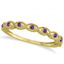 Antique Marquise Shape Amethyst Wedding Ring 18k Yellow Gold (0.18ct)