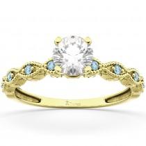 Vintage Marquise Aquamarine Engagement Ring 14k Yellow Gold (0.18ct)