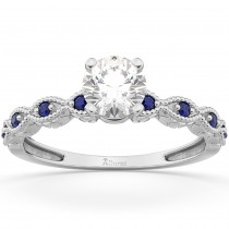 Vintage Marquise Blue Sapphire Engagement Ring 14k White Gold (0.18ct)