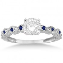 Antique Blue Sapphire Engagement Ring Set 14k White Gold (0.36ct)