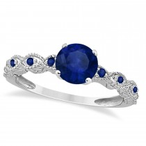 Vintage Style Blue Sapphire Engagement Ring in 14k White Gold (1.18ct)
