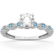 Vintage Marquise Blue Topaz Engagement Ring 14k White Gold (0.18ct)