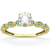 Vintage Marquise Blue Topaz Engagement Ring 18k Yellow Gold (0.18ct)