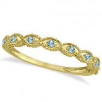 Antique Marquise Shape Blue Topaz Wedding Ring 14k Yellow Gold (0.18ct)