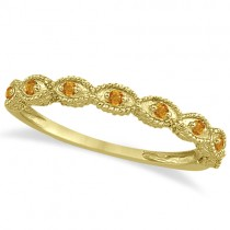 Antique Marquise Shape Citrine Wedding Ring 18k Yellow Gold (0.18ct)