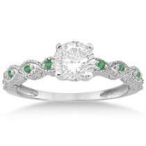 Vintage Marquise Emerald Engagement Ring 14k White Gold (0.18ct)