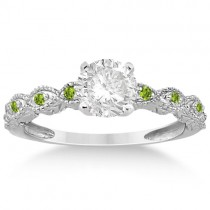 Vintage Marquise Peridot Engagement Ring Platinum (0.18ct)