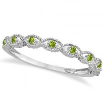Antique Marquise Shape Peridot Wedding Ring 14k White Gold (0.18ct)