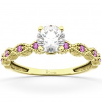 Vintage Marquise Pink Sapphire Engagement Ring 18k Yellow Gold (0.18ct)