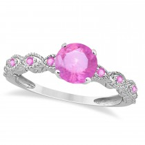 Vintage Style Pink Sapphire Engagement Ring in 14k White Gold (1.18ct)