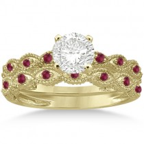 Antique Ruby Engagement Ring and Wedding Band 14k Yellow Gold (0.36ct)